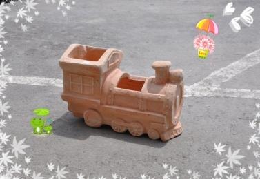 大火車頭造型素燒盆