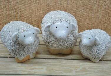 上釉白陶羊擺飾 T22 (3個尺寸)