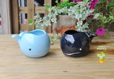 彩釉鯨魚陶盆 (共7色)