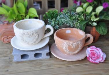 玫瑰心形浮雕紋咖啡杯 1020S
