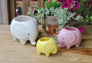 彩釉大象家族陶盆   (3個尺寸)