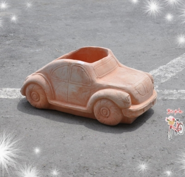 可愛車子造型素燒盆