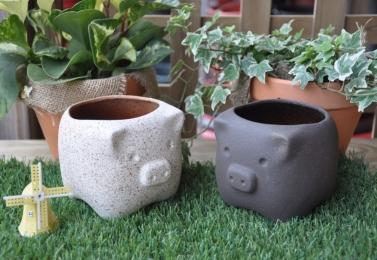 可愛豬造型花盆