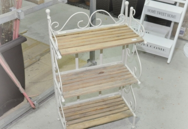 鐵製木板三層架 (白色)
